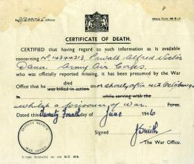 Death Certificate of Pte A V Dann dated 24th June 1946.