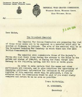Letter from the Imperial War Graves Commission regarding the Groesbeek Memorial, 1954
