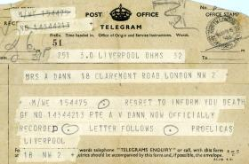 Telegram informing of the death of Pte A V Dann, 1944.