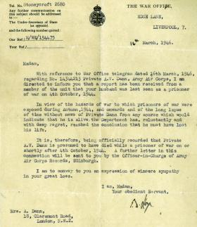 War Office letter confirming the death of Pte A V Dann in October 1944, March 1946.