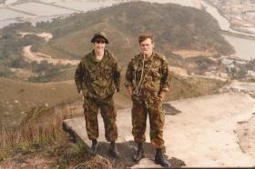 Dave Colton (left) and Al Boardman, 1 PARA Anti-Tank Platoon, Crest Hill Op Hong Kong 1980