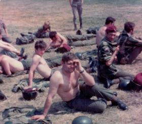 Members of 16 Lincoln Coy getting a tan in Germany, 1970s