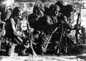 Pte David Parr, L/Cpl Neil Turner and Pte Terry Stears, Falkland Islands, 14 June 1982.