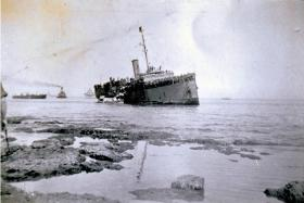 Jewish Immigrants are taken off SS Ulua, beached nr Peninsula Barracks, Bat Galim, Haifa, 28 February 1947.