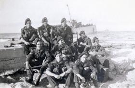 Members of A Company 9th Para Battalion pictured in front of SS Ulua, nr Haifa, 28 February 1947.