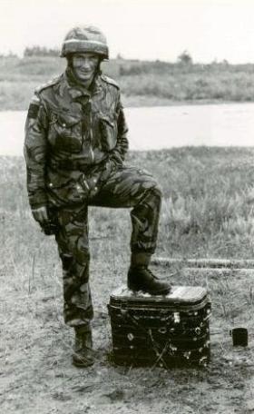 Dave Wood with 'shot up' tea urn, 1 PARA, Canada 1980.