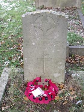 A poppy wreath on the grave of Pte Peter Grundy, 2009, Ryde, Isle of Wight.