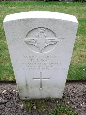 Headstone for Sgt D J Day, Reichswald Forest War Cemetery.