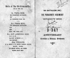 Programme for 'D Day Dinner and Social Evening' held at 8th Battalion Sgts' Mess  Camp 148 Haifa MELF 6 June 1947.