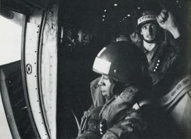 Dean Ward during parachute training, 1982.