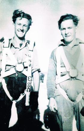 Pte Cliff Dearden and unknown parachutist, RAF Aqir, c1947.
