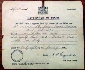 Notification of the death of Pte J I Trainor, 1944.