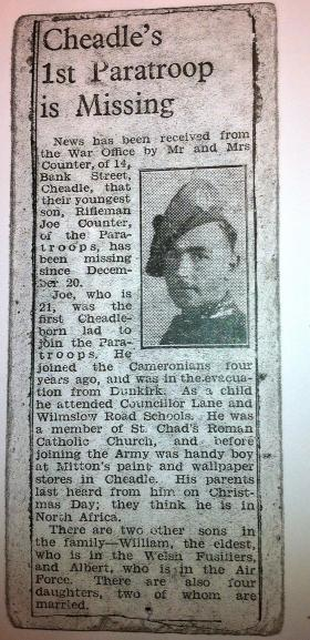 Newspaper article reporting Pte Counter as 'Missing in Action', 1943.