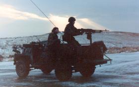 Sgt Mick Quinn training on half ton gun platforms, 3 PARA, Warcop, December 1981.