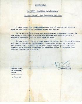 Fus Peter Ibbetson's demobilisation testimonial, February 1948.