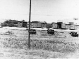 Derailed train near Haifa, 1947
