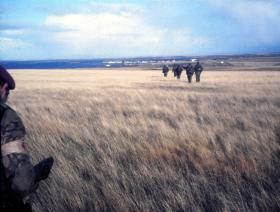 Down the Forward Slope into Goose Green, Falkland Islands, 1982.
