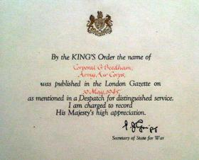 Recognition of Cpl G Beedham's mention in despatches