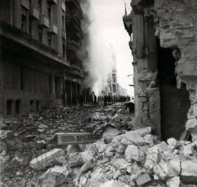 A street destroyed after fighting.