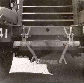 Detail view of the M3 Scout Car anchor point for transport in a Hamilcar Glider, AFDC, 1945.