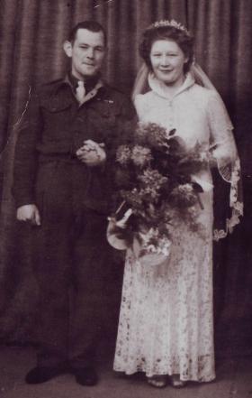 Bombardier James Dickson at his wedding, c1945.