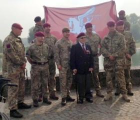 Luis DiMarco with serving members of the Parachute Regiment at Arnhem 70th Commemorations, 2014.