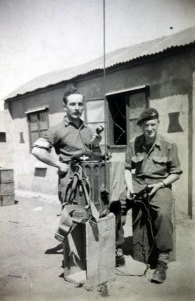 Sgt DiMarco with a No 18 wireless set, Palestine, c1947.