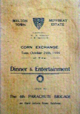 Menu card cover for members of 4th Parachute Brigade who returned from Arnhem, 24 October 1944.