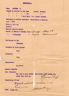 Pte Walter Stevens' Discharge Testimonial