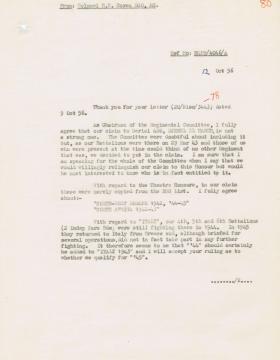 Letter regarding claim to Battle Honours for Djebel el Harch, 12 October 1956.