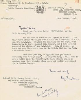 Letter regarding Battle Honours for Djebel el Harch and Italy, 15 October 1956.
