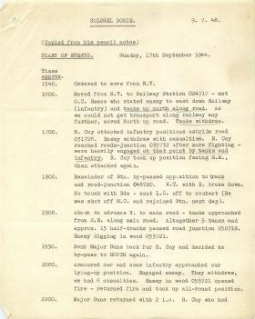 Personal account of Arnhem by Lt.Col David Dobie