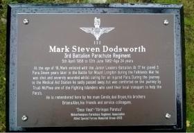 Memorial for Private Mark Dodsworth at the National Memorial Arboretum.