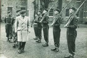 Field Marshal Montgomery inspecting soldiers of the Parachute Regiment