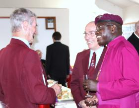 The Archbishop of York talking with members of the PRA, Airborne Forces Day, Eden Camp, 2010