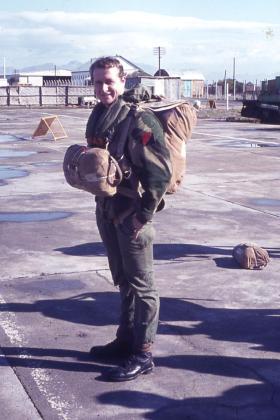 Ian Drew parachuting in Cyprus 1973