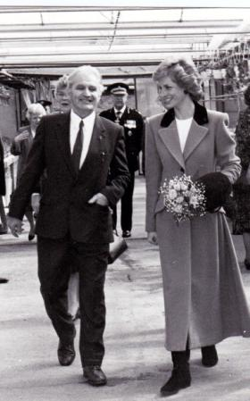 Andrew Brown with Princess Diana at the Shaw Project, Cramlington, in 1989.