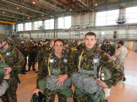Members of 9 PARA Sqn RE prior to a jump with 321st Special Tactics Sqn June 2010