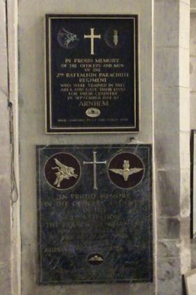 Memorials to 2nd Para Bn in Stoke Rochford Church, undated.