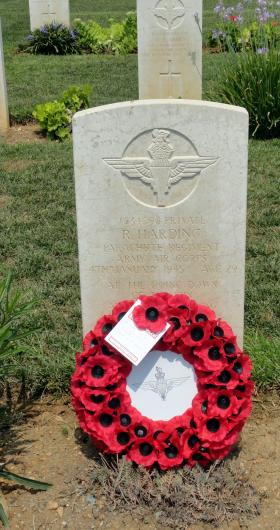 Grave of Pte Robert Harding, Phaleron War Cemetery, Athens, August 2015.