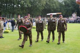 The Col Commandant, COs and Regt Lt Col at the memorial service, Arnhem Oosterbeek Cemetery, 23 September 2012.