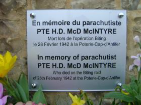 Plaque for Hugh McIntyre, 70th anniversary of Op Biting, Bruneval, 2012.