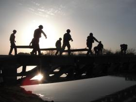 1 Troop, 51 Para Sqn, RE erecting 14 Bay Double Storey Medium Girder Bridge, Afghanistan 2011.