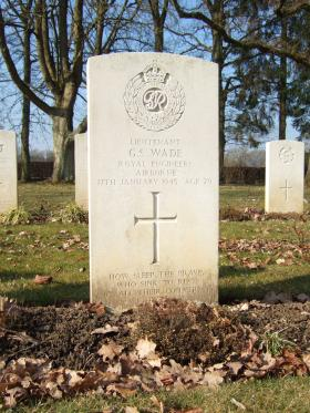 Grave of Lt Gordon S Wade, Hotton War Cemetery, Belgium, 2015.