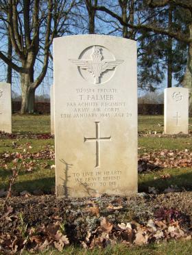 Grave of Pte Thomas Palmer, Hotton War Cemetery, Belgium, 2015.