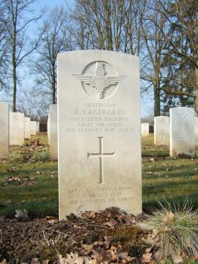 Grave of Lt Alfred Lagergren, Hotton War Cemetery, Belgium, 2015.