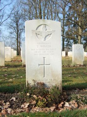 Grave of Lt Timothy Winser, Hotton War Cemetery, Belgium, 2015.