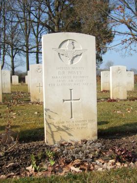 Grave of Pte Dennis R Povey, Hotton War Cemetery, Belgium, 2015.