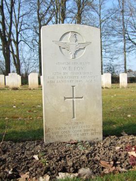 Grave of Sgt W E Fox, Hotton War Cemetery, Belgium, March 2015.