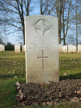 Grave of Pte Alexander Waddell, Hotton War Cemetery, Belgium, 2015.